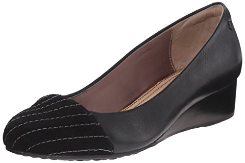 Hush Puppies Womens Britt admire Wedge Pump Black Leather/Suede 4zwtP