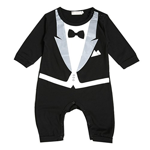 VogueFashion Baby Boy Long Sleeve Fancy Jumpsuit Baby Bowknot Jumpsuit (12-18 Months, Front Printed Tuxedo)]()