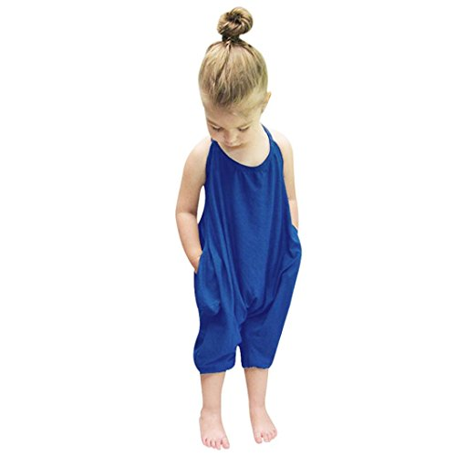 Toddler Kid Baby Girls Straps Rompers, Sleeveless Solid Jumpsuits Piece Pants Clothing (Blue, 5T) from Aritone