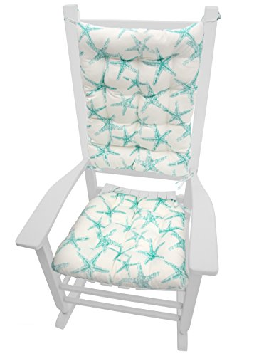 Sea Shore Starfish Aqua Indoor / Outdoor Rocking Chair Cushions - Latex Foam Fill, Made in USA, Reverses to SS Starfish Aqua