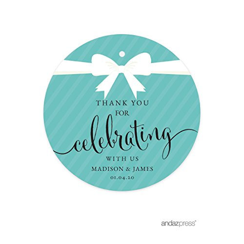Andaz Press Personalized Round Circle Gift Tags, Party & Co Thank You for Celebrating with Us, 24-pack, Custom Made Name for Themed Party Favors, Gifts, Decorations