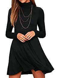 Women's Long Sleeve Turtleneck Casual Loose T-Shirt Dresses