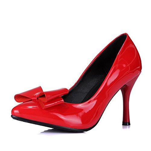 VogueZone009 Damen Ziehen auf Spitz Zehe Hoher Absatz PU Leder Rein Pumps Schuhe Rot