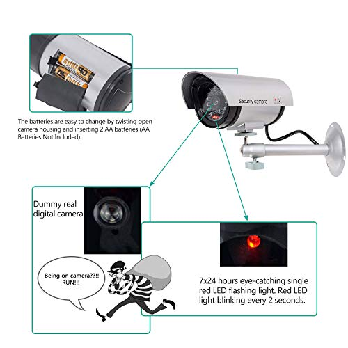 WALI Bullet Dummy Fake Surveillance Security CCTV Dome Camera Indoor Outdoor with one LED Light, Security Alert Sticker Decals (TC-S2), 2 Packs, Silver