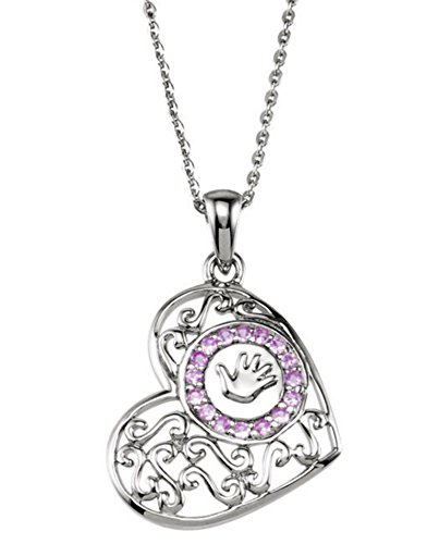 Eliana and Eli Remembrance Handprint on My Heart Necklace- Sterling Silver Handprints Girl 18