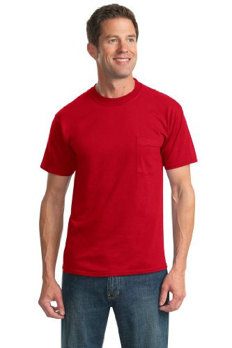 picture of JERZEES - Heavyweight Blend 50/50 Cotton/Poly Pocket T-Shirt-S (True Red)