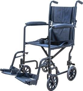 "Medical Supply Transport Chair Wheel Chair, 19"", Silver"