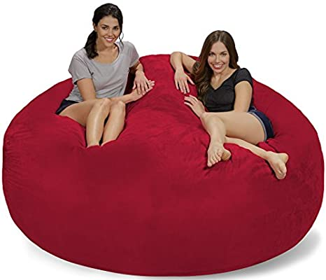 Chill Sack Bean Bag Chair: Giant 7 Memory Foam Furniture Bean Bag - Big Sofa with Soft Micro Fiber Cover - Cinnabar Micro Suede