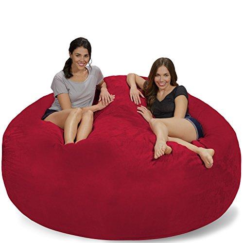 (Chill Sack Bean Bag Chair: Giant 7' Memory Foam Furniture Bean Bag - Big Sofa with Soft Micro Fiber Cover - Cinnabar Micro Suede)