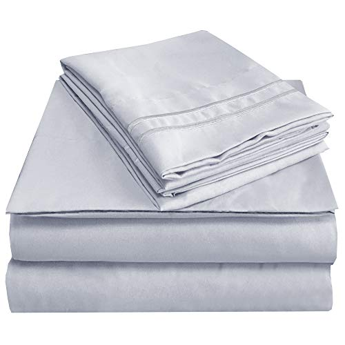 Mejoroom King Size Sheets,1800TC Luxury King Sheets with 15-inch Deep Pocket,Premium Bedding Collection - Extra Soft Breathable Wrinkle Fade Stain Resistant Hypoallergenic - 4 Piece (King,Platinum) ()