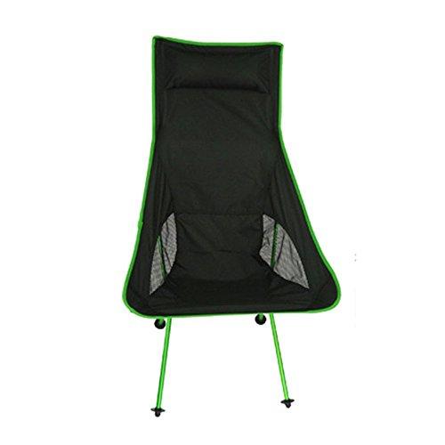 asdomo zusammenklappbar Rücken Terrasse Stuhl mit Kopf Hohe Rückenlehne Portable Compact Ultralight zusammenklappbar Rucksackreisen Stuhl mit Tasche Outdoor Sitz Freizeit Stuhl für Festival Outdoor Hi grün