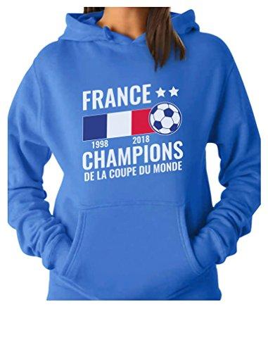 Tstars - France National Soccer Team Fans 2018 Champions Women Hoodie Medium California Blue ()