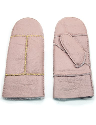 f5b822cc9 YISEVEN Women's Rugged Sheepskin Shearling Mitten Herringbone Leather  Gloves Sherpa Fur Cuff Thick Wool Lined and