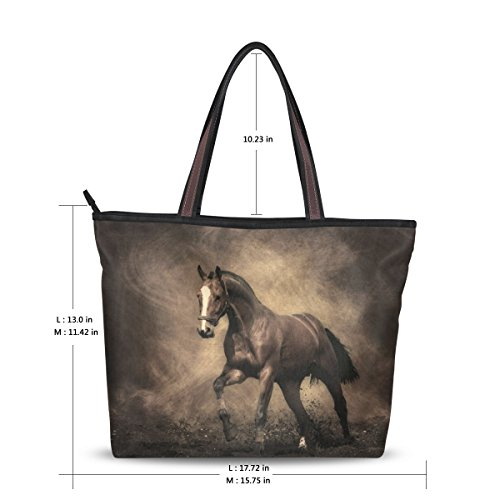 Women Large Tote Top Handle Shoulder Bags Horse Ladies Handbag - Ladies Horse