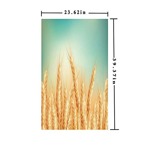 Window Film Decorate Glass Film 3D Printed,Wheat Field and Blue Sky Agriculture Themed Abstract Composition,W15.7xL63in,for Home Office with Yellow Orange Mint Green (3d Printed Glasses)