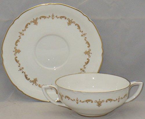 Royal Worcester Gold Chantilly Cream Soup And Saucer Set (Flat)