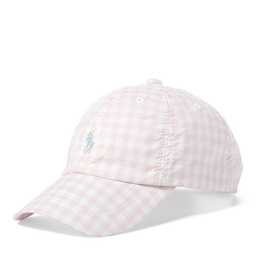 Polo Ralph Lauren Girl`s Gingham Poplin Baseball Hat (Light Pink(8001)/White, 7-16)