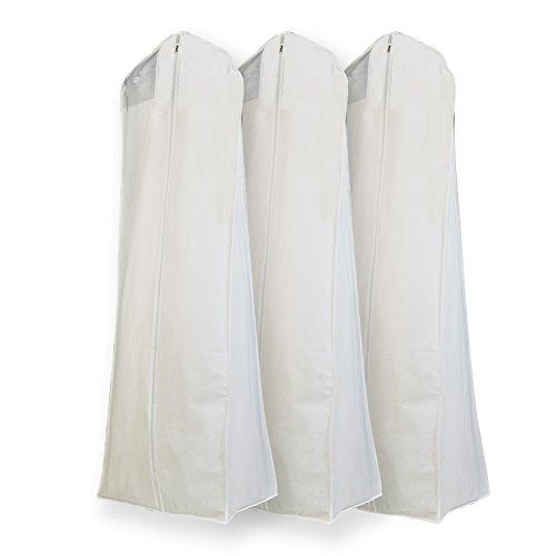 Semapak Pack of 3 X Large White Non Woven Bridal Wedding Gown Dress Garment Bag, full length dress bags with 15
