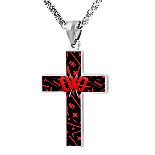 MIWOW Sword and Weapon Chad Wild Clay Enamel Stainless Steel Cross Pendant Necklace Amulet Ornament Choker
