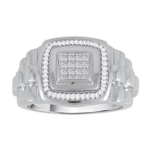 KATARINA Baguette and Princess Cut Diamond Men's Ring in 14K White Gold (3/4 cttw, G-H, VS2-SI1) (Size-10.25)