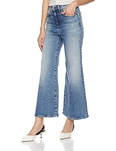 Skinny Wide Leg Jeans (HALE Women's Orly High Waisted Wide Leg Jean 29 Alba)