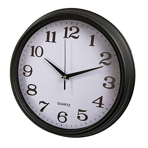 - Black Wall Clock Big Silent Non Ticking 14' Wall Clock Battery Operated Round Easy to Read Home/Office/School Clock but Will Upgrade Any Room