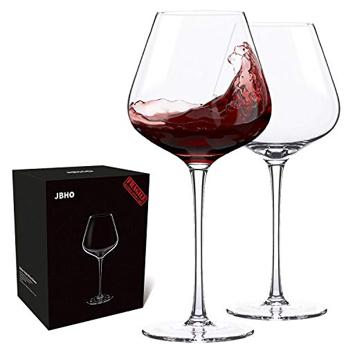 Hand Blown Italian Style Crystal Burgundy Wine Glasses - Lead-Free Premium Crystal Clear Glass - Set of 2 - 21 Ounce - Gift Box for any Occasion