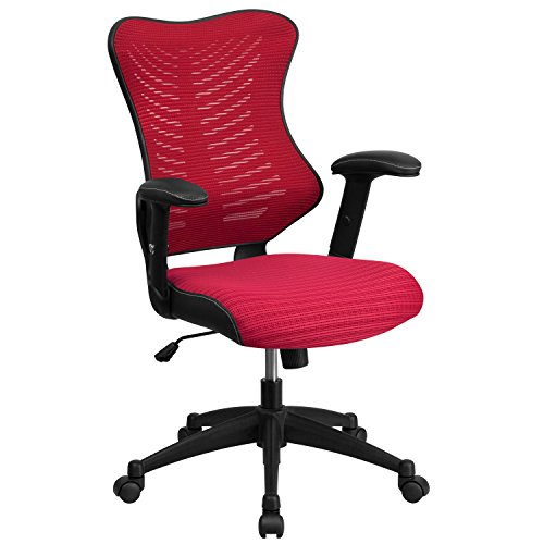 Flash Furniture High Back Designer Burgundy Mesh Executive Swivel Chair  With Adjustable Arms