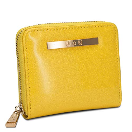Womens Small Compact Leather Yellow Wallet Ladies Soft Glitter Coin Purse