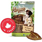 Norpur Pig Ears All-Natural Dog Treats (10-Count) Canadian made, Slow-Roasted & Oven-Baked | Promote Healthy, Shiny Coats | Help Clean Teeth, Prevent Bad Breath | Sourced and Made in Canada (10-Count)