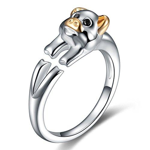 Pig Ring Sterling Silver Gifts for Women Gold Crystal Cuff Adjustable Chinese Zodiac Jewelry
