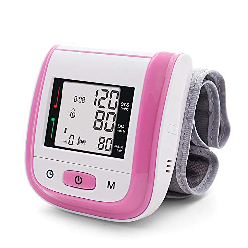 Yongrow Automatic Blood Pressure Monitor Wrist Cuff Portable Large Screen BP Wrist Cuff Blood Pressure Kit - Irregular Heartbeat BP Monitor (Pink) ()