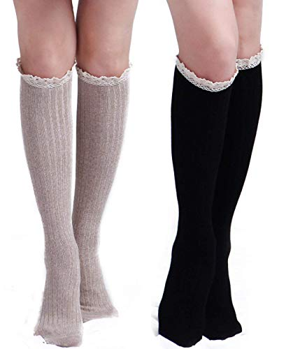 (THXXE Womens Cotton Knit Boot Socks, Knee High Tube Socks Stockings with Lace Trim, 2 Pairs (Black+Beige))