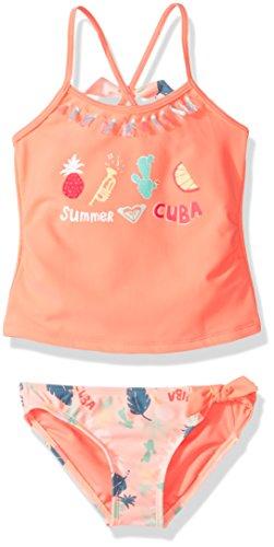 Roxy Toddler Girls' Sandy Break Tankini Swimsuit Set, Peach Nectar Exotic Tic, 2