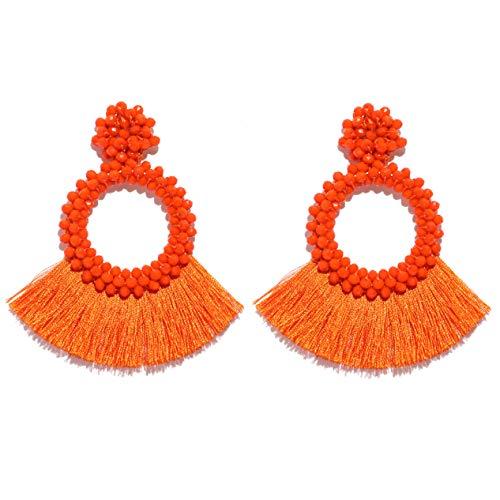 Orange Tassel Earrings for Women Bohemian Statement Beaded Fringe Hoop Earrings Gift for Girls ()