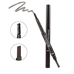 Waterproof Drawing Eyebrow with Brow Brush,Elisabeh Long lasting Eyebrow Pencil Brow Liner,Automatic Drawing Makeup Cosmetic Tool for Girls Women Novice (Dark Brown)