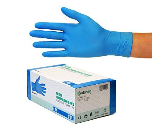 Nitrilhandschuhe 200 Stück Box (M, Blau) Einweghandschuhe, Einmalhandschuhe, Untersuchungshandschuhe, Nitril Handschuhe, puderfrei, ohne Latex