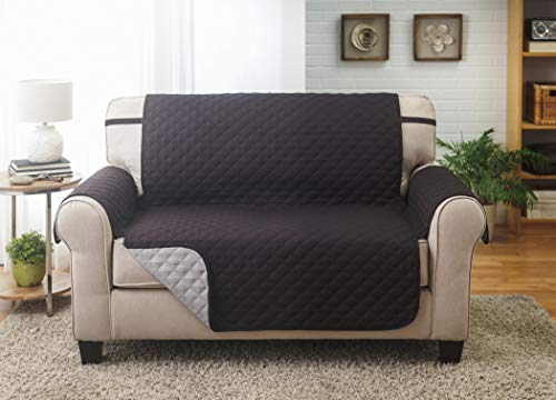 Couch Guard Loveseat Cover, Sofa Slipcover, Furniture Protector. Shield & Protects from Dogs, Cats, Pets, Kids, Stains. Reversible, Quilted with Elastic Strap. Easy Wash & Dry. Black & Grey