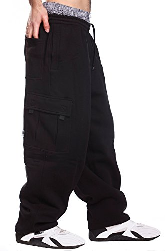 1 Back Pocket (PRO 5 Mens Fleece Cargo Sweatpants, X-Large, Black)