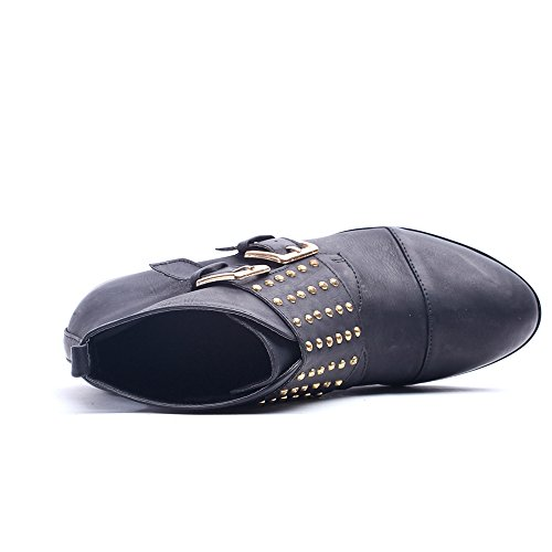 Alexis Leroy - Neutral Style Studded Double Buckle Ankle-high Combat Boots para mujer Negro