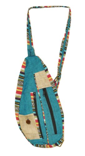 - Mandala Crafts BOHO Hippie Sling Backpack Purse from Hemp for Women, Girls, and Men (Turquoise)