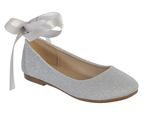 - Big Girls Silver Glitter Ribbon Ankle Ties Ballerina Flat Shoes Size 5 Youth
