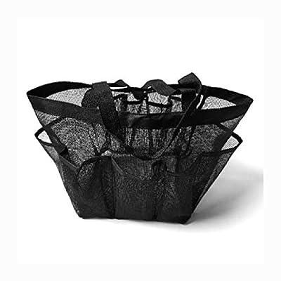 HEATAPPLY Travel Pouch Bag, Utendørs Reise Portable Mesh Beach Håndveske Tote Leker Storage Bag Pack Organizer Veske, Black