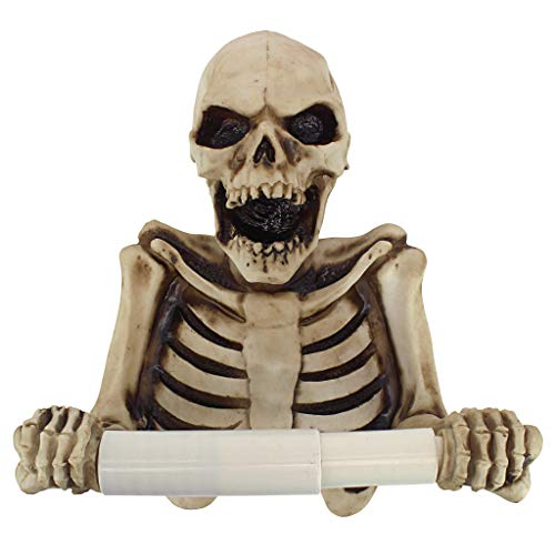 Design Toscano JQ10089 Holder-Bone Dry Skeleton Toilet Paper Roll-Bathroom Wall Decor, Multicolor -