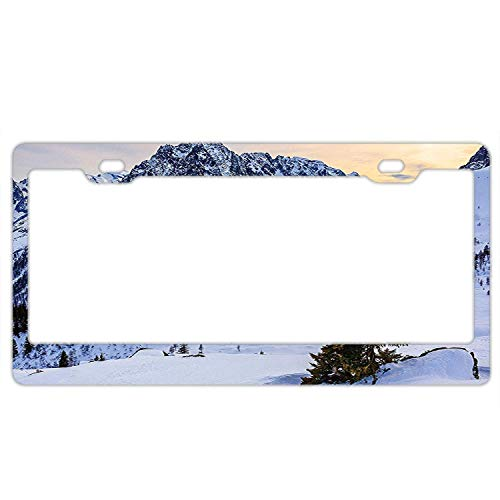(LLgLOOhoOPPPJDh Landscape of Snowy Mountain at Sunset Pine Trees Tranquil in Winter Theme Firefighter Lives Matter Flag License Plate Novelty Auto Car Tag Vanity Gift for Fire Fighters)
