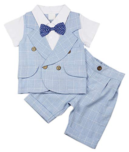 DAIMIDY Baby Boys Summer Formal Suit, Short Sleeves Shirt with Vest + Shorts Set + Bow Tie, Tuxedo Outfit Dress Clothes for Baby and Toddler Boys, 1# Light Blue Plaid, US 3-4 Years = Tag 110