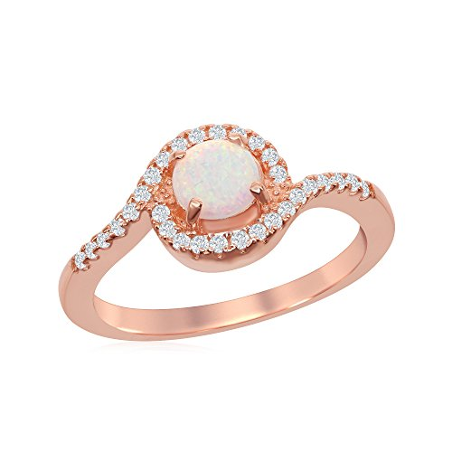 Beaux Bijoux Sterling Silver Rose Tone Created White Opal with Cubic Zirconia Swirl Design Ring