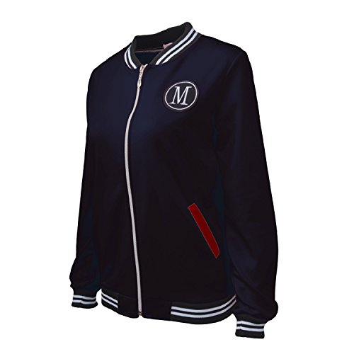 Davanti A Volo Blu Top con Righe Aviatore Zipper Rigato Bomber Giacca cerniera Strisce Zip collo Up serafino Scuro Varsity Baseball Jacket Superiore Giubbotto xq10p6dqn