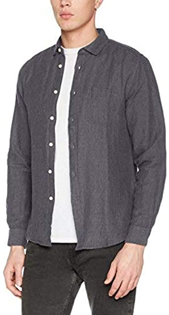 Springfield Lino Camisa Casual, Gris (Grey), Medium (Tamaño del ...