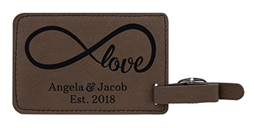 Personalized Couples Gifts Custom Names & Date Infinite Love Personalized Engagement Gifts for Honeymoon 2-pack Laser Engraved Leather Luggage Tags Brown by Personalized Gifts (Image #1)